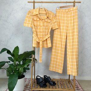 Vintage 70s Yellow Plaid Wide Leg Leisure Suit